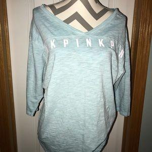 Victoria's Secret PINK, v-neck. Light blue Small.